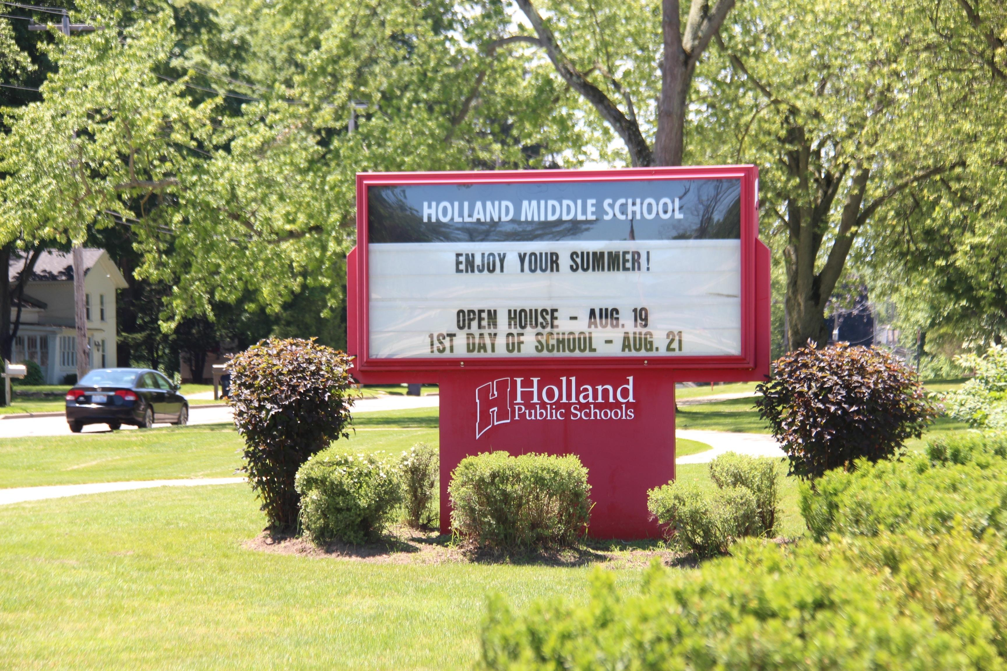 Holland Middle School sign