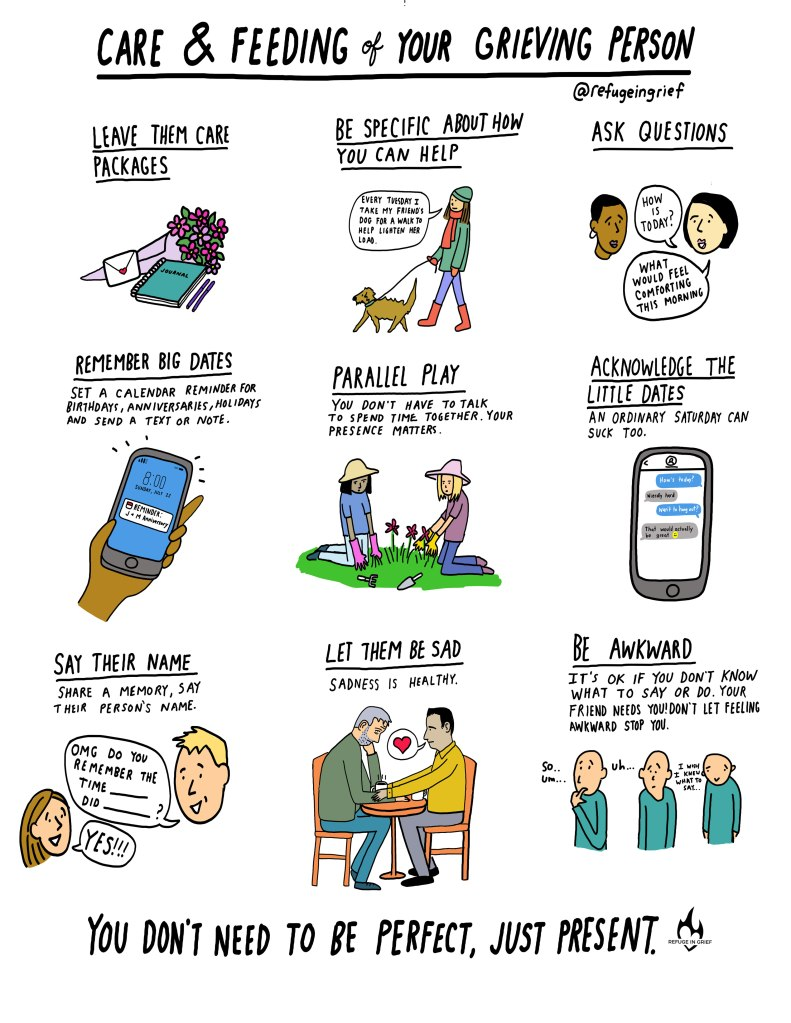 Comic with advice on how to help those in grief.
