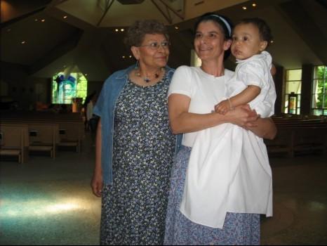 Grandma, mom, and Oliver at his baptism